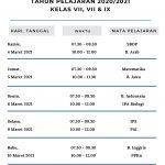 Jadwal PTS 2 Kelas VII, VIII, IX